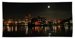 Wilmington Nc At Night Bath Towel by Denis Lemay