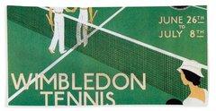 Wimbledon Tennis Southfield Station - London Underground - Retro Travel Poster - Vintage Poster Hand Towel