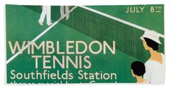 Wimbledon Tennis Southfield Station - London Underground - Retro Travel Poster - Vintage Poster Hand Towel