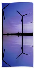 Wind Energy Turbines At Dusk Hand Towel