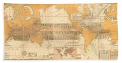 Wind Map Of The World - Meteorological Chart - Historic Chart Of The Wind Currents - Old Atlas Hand Towel