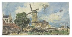Wind Mill At Antwerp Hand Towel