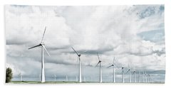 Bath Towel featuring the photograph Wind Turbines Landscape by Hans Engbers