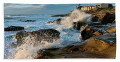 Windansea Beach At High Tide Bath Towel by Eddie Yerkish