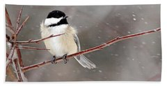 Windblown Chickadee Hand Towel