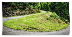 Winding Road With Sharp Bend Going Up The Mountain Bath Towel by Semmick Photo