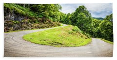 Winding Road With Sharp Curve Going Up The Mountain Bath Towel by Semmick Photo
