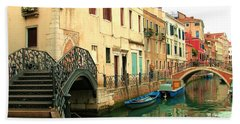 Winding Through The Watery Streets Of Venice Bath Towel by Barbie Corbett-Newmin