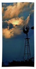 Windmill At Sunset Bath Towel