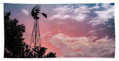 Windmill At Sunset Bath Towel