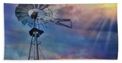 Hand Towel featuring the photograph Windmill At Sunset by Susan Candelario