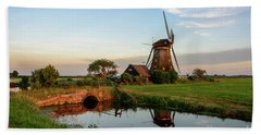 Windmill In The Countryside In Holland Bath Towel by IPics Photography