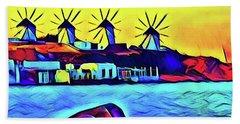 Windmills At Mykonos Bath Towel