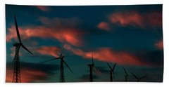 Windmills At Sunrise Bath Towel