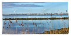 Bath Towel featuring the photograph Windmills On A Windless Morning by Frans Blok