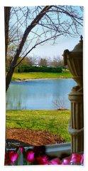 Window View Pond Bath Towel