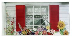Windowbox With Cat Bath Towel by Bonnie Siracusa
