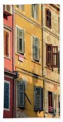 Windows Of Rovinj, Istria, Croatia Bath Towel