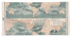 Winds Over The Oceans - Meteorological Map - Geological Map - Wind Direction And Speed Chart Hand Towel