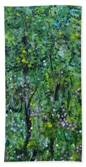 Bath Towel featuring the painting Windsor Way Woods by Judith Rhue