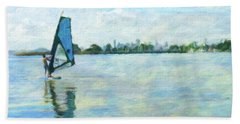Windsurfing In The Bay Hand Towel