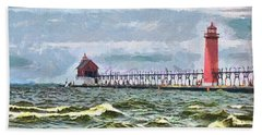 Windy Day At Grand Haven Lighthouse Hand Towel