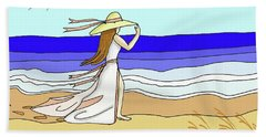 Windy Day At The Beach Hand Towel