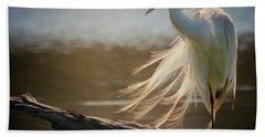 Windy Egret  Bath Towel