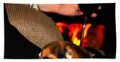 Wine And A Fire And A Dog Hand Towel