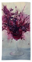 Wine Bouquet Hand Towel by T Fry-Green