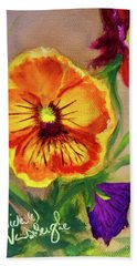 Wine Flash Pansies  Bath Towel