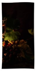 Wine Glass And Grapes Hand Towel