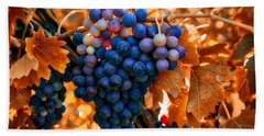 Wine Grapes Of Many Colors Bath Towel by Lynn Hopwood