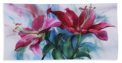 Wine Lillies In Pastel Watercolour Bath Towel