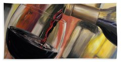Bath Towel featuring the painting Wine Pour II by Donna Tuten