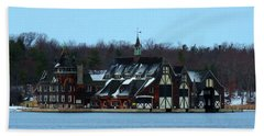 Snow On Boldt Castle Yacht House Hand Towel