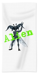 Winged Alien Peace Out Hand Towel