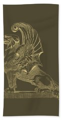 Bath Towel featuring the digital art Winged Chimera From Theater De Bellecour, Lyon, France, In Gold On Black by Serge Averbukh