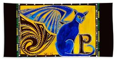 Hand Towel featuring the painting Winged Feline - Cat Art With Letter P By Dora Hathazi Mendes by Dora Hathazi Mendes
