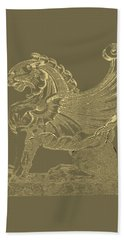 Bath Towel featuring the digital art Winged Lion Chimera From Casa San Isidora, Santiago, Chile, In Gold On Black by Serge Averbukh