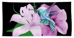 Hand Towel featuring the mixed media Winging It Hummingbird by Marvin Blaine
