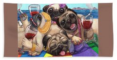 Wining Pile Of Pugs Bath Towel