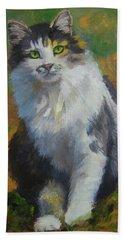 Winston Cat Portrait Bath Towel by Alice Leggett
