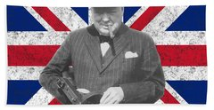 Winston Churchill And His Flag Bath Towel