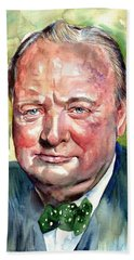 Winston Churchill Portrait Bath Towel