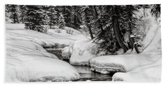 Winter Alpine Creek Bath Towel