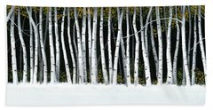 Bath Towel featuring the painting Winter Aspens II by Michael Swanson