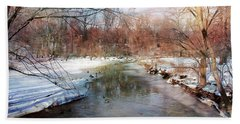 Winter At Cooper River Bath Towel by John Rivera