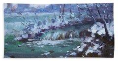 Winter At Niagara River Hand Towel