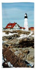 Winter At Portland Head Hand Towel